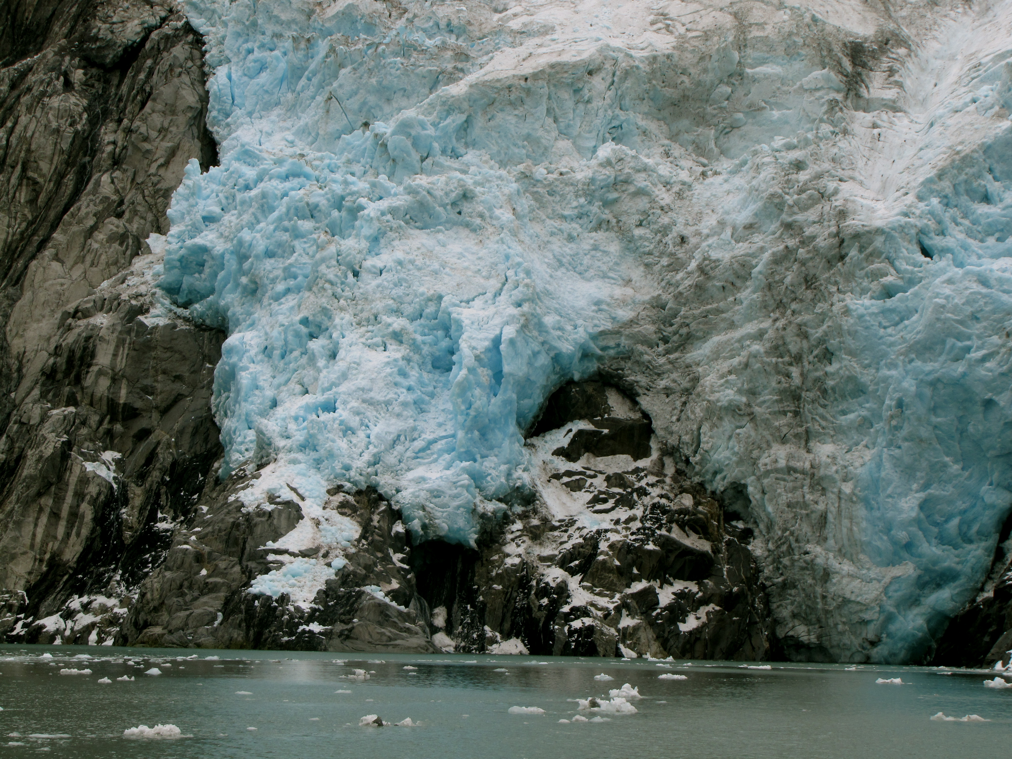 A pro of the smaller boat is this close-up of Northwestern Glacier- Kenai Fjords