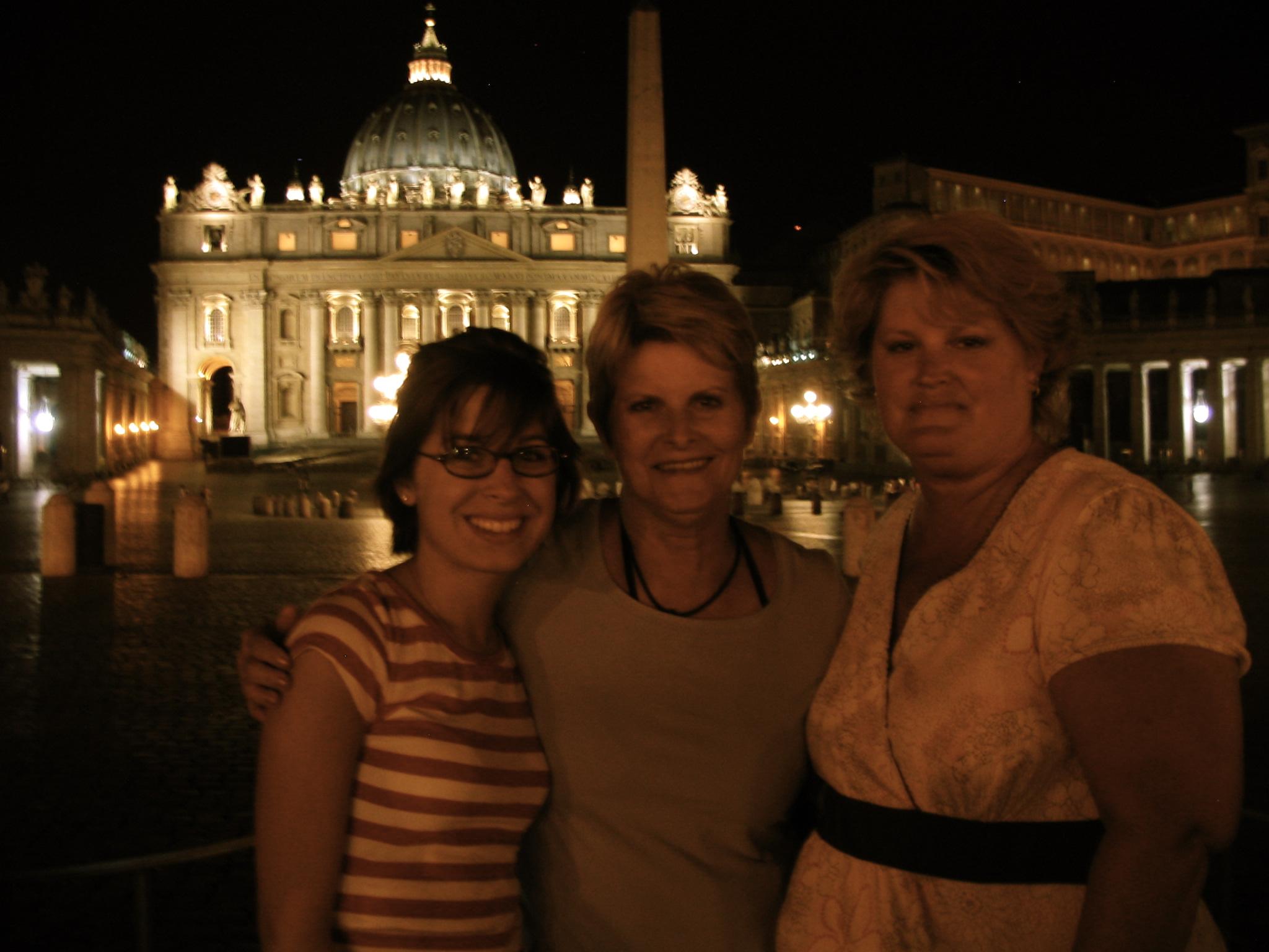 Saint Peter's Basilica at night: with my mom and grandma
