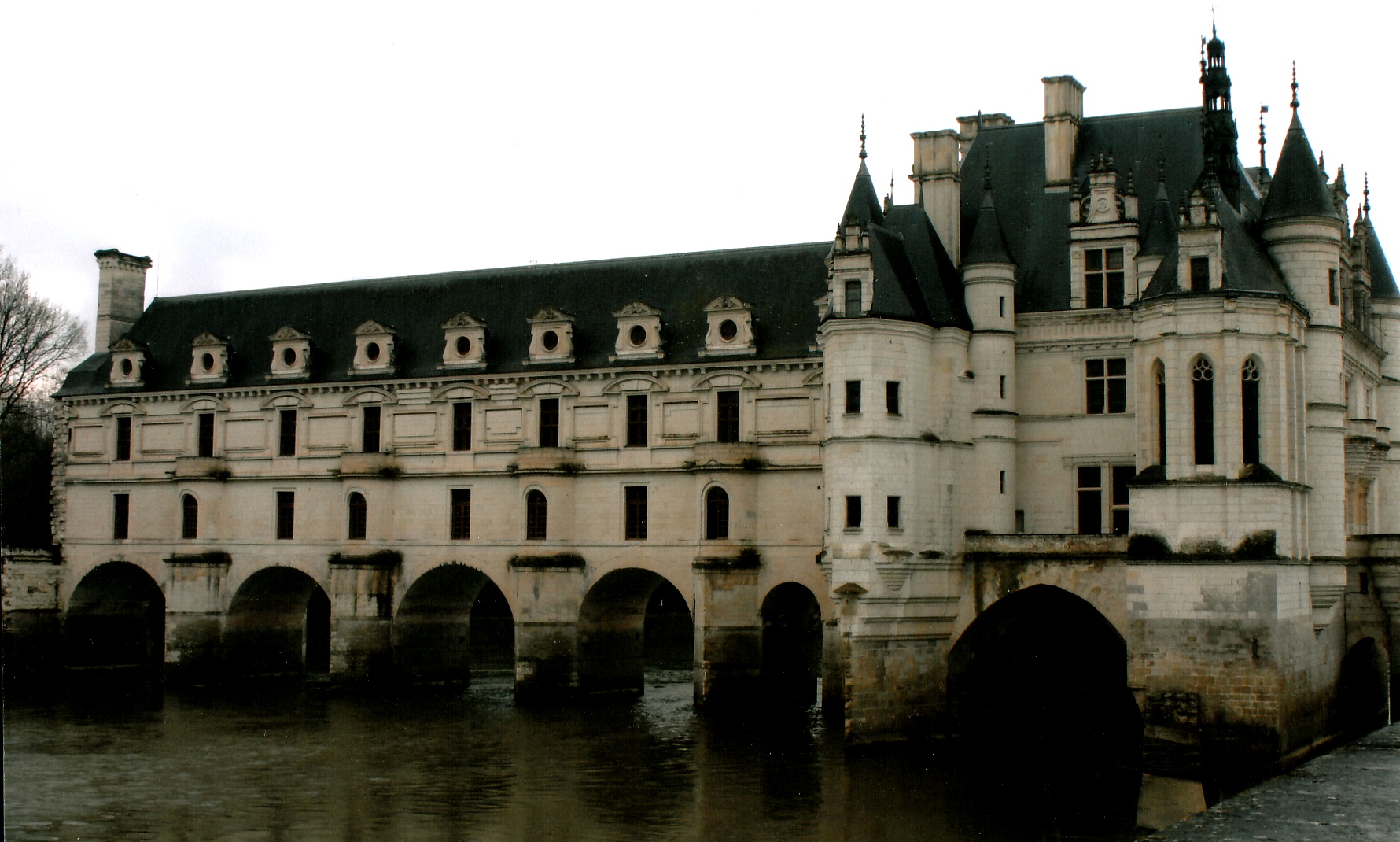 The Side View of the Chateau Spanning the Cher River.