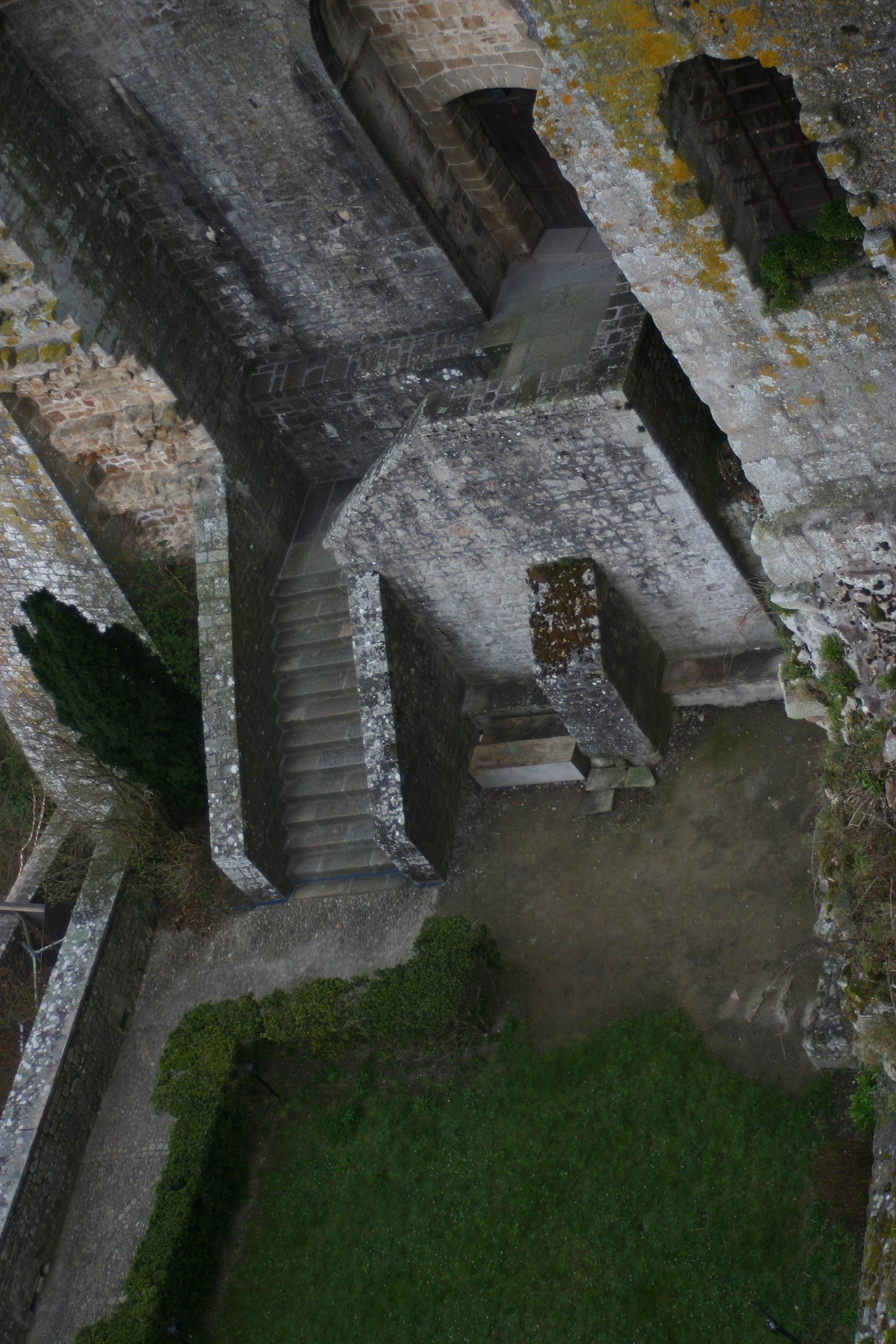 Looking Down on the Courtyard at Mont Saint-Michel.
