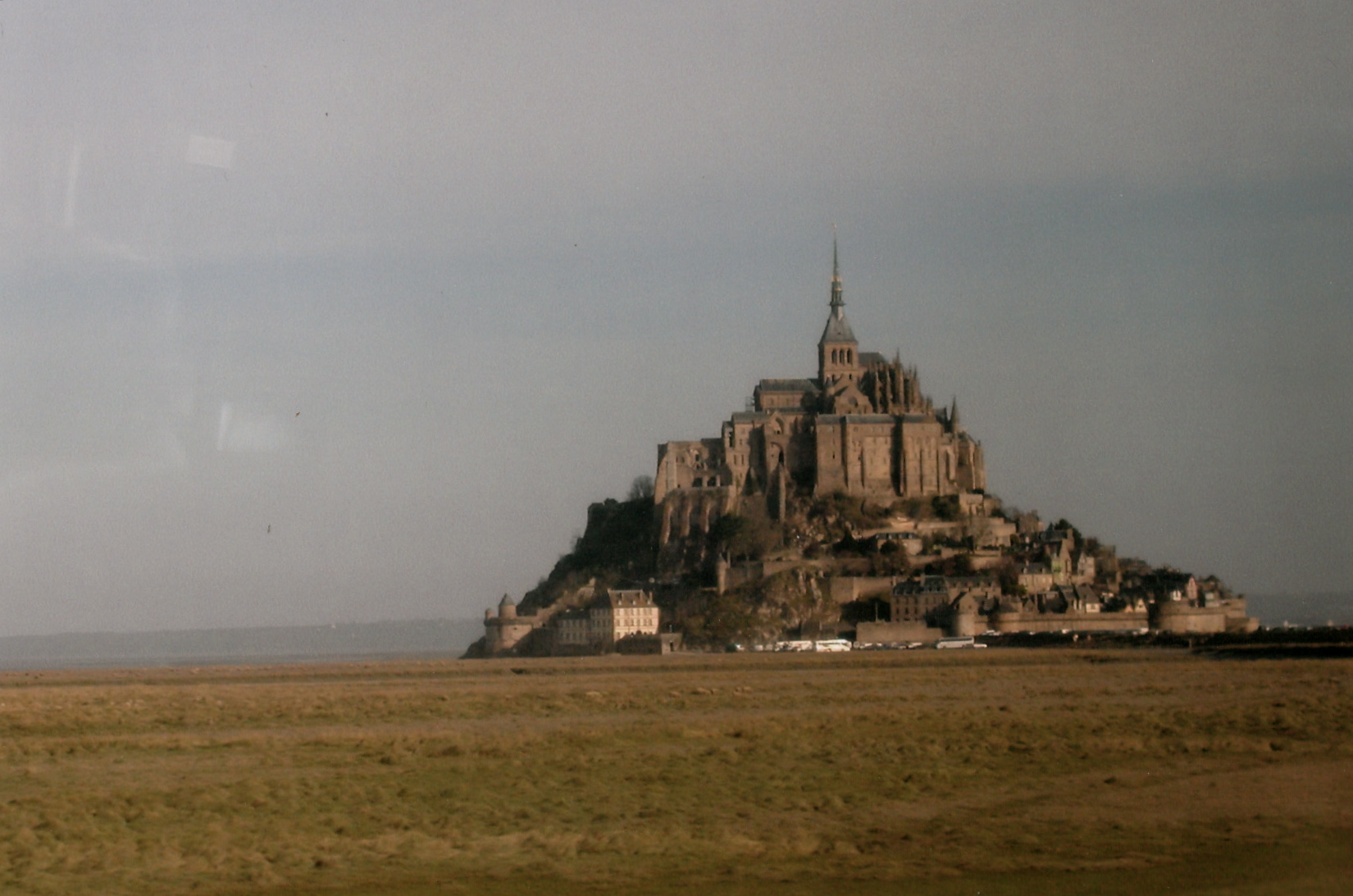 Driving Up to Mont-Saint-Michel.