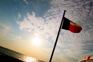 Texas Flag on the Ferry